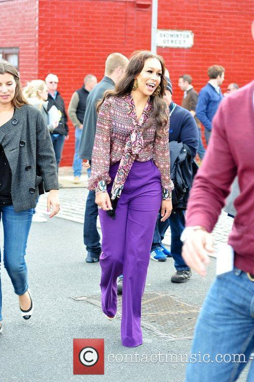 Rebecca Ferguson  filming a commercial for Walkers...