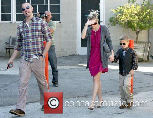 Reese Witherspoon and with fiancee Jim Toth leaving...