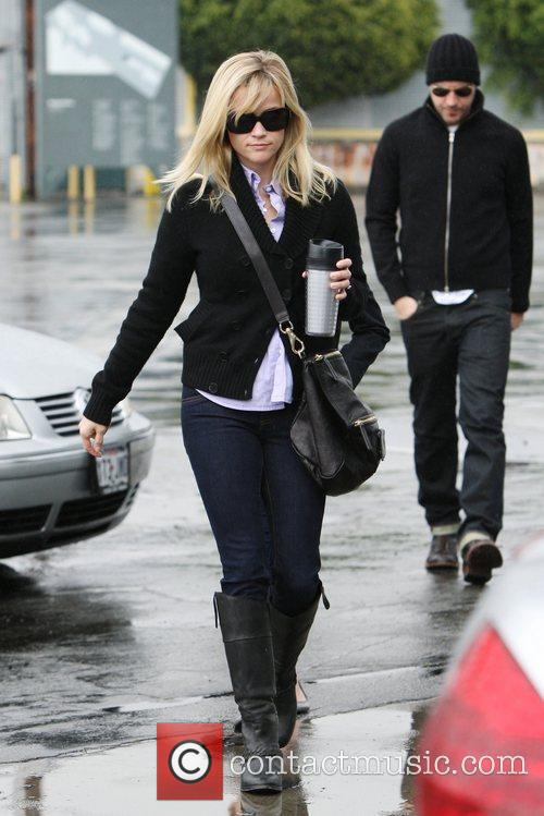 Reese Witherspoon goes to church with her children...