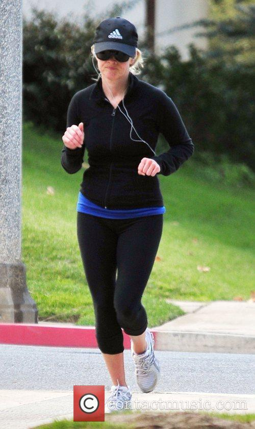 Reese Witherspoon out jogging in Brentwood Los Angeles,...