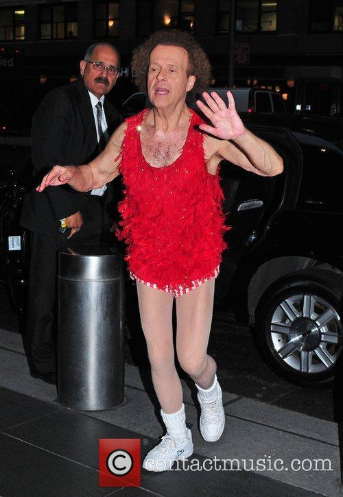 Richard Simmons exits the Time Warner Building...