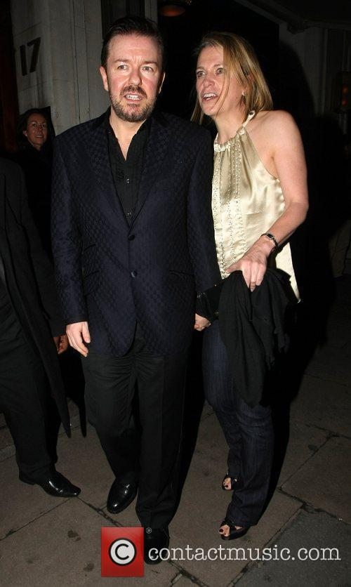 Ricky Gervais and Jane Fallon leave Automat restaurant...