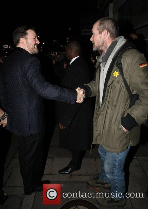 Ricky Gervais stops to talk to a homeless...