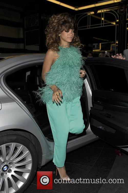 Rihanna leaving House of Fraser department store, and...