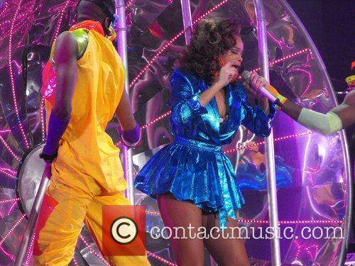 Rihanna performing in concert of her 'Loud' tour...
