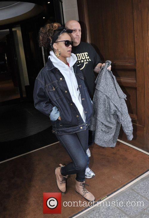 Rihanna is seen leaving Hotel Sofitel Paris Le...