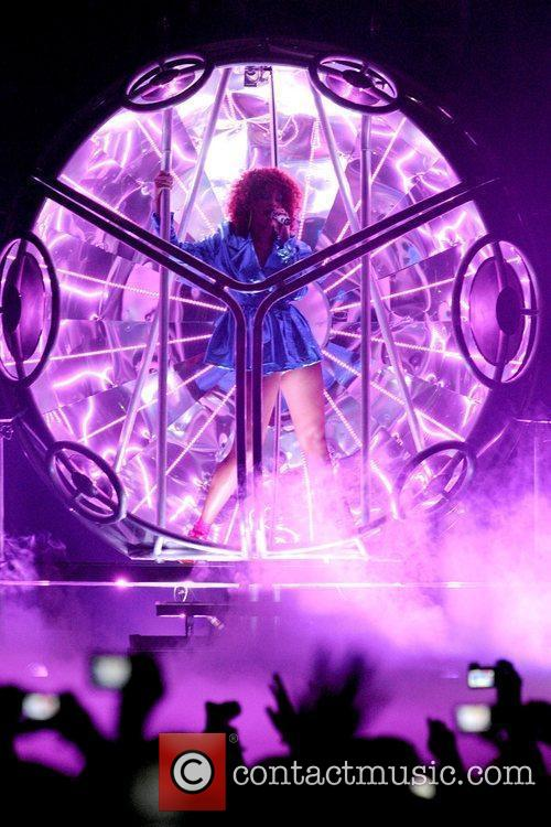 Performs on stage during her 'Loud Tour' at...