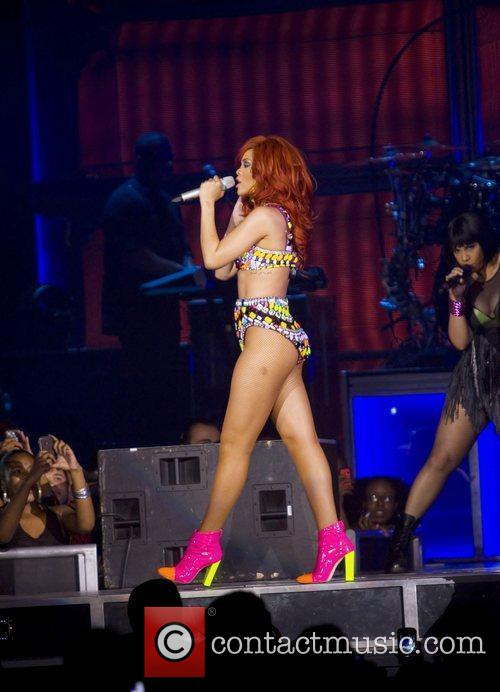 Rihanna performs during her 'Loud Tour' at the...