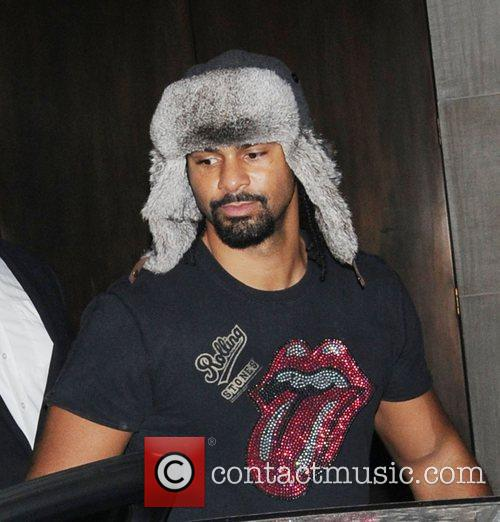 David Haye leaving Stringfellows nightclub wearing a russian...