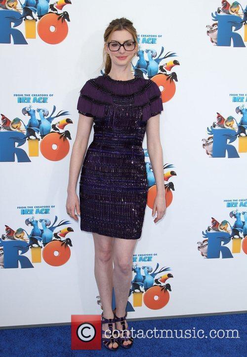 Anne Hathaway Los Angeles premiere of 'Rio' held...