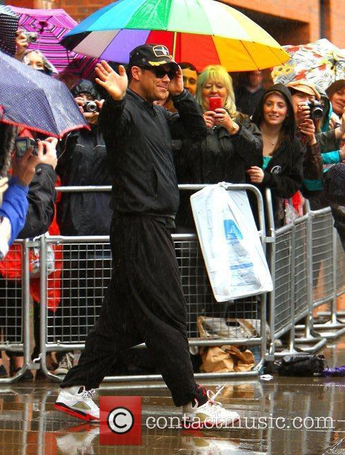 Robbie Williams leaving his hotel Manchester, England