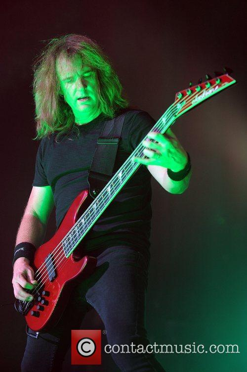 David Ellefson of Megadeath performs at the Rockstar...