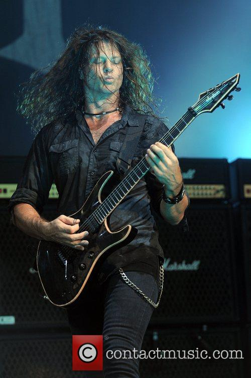 Chris Broderick of Megadeath performs at the Rockstar...
