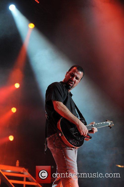 Tony Rombola Godsmack performs at the Rockstar Energy...