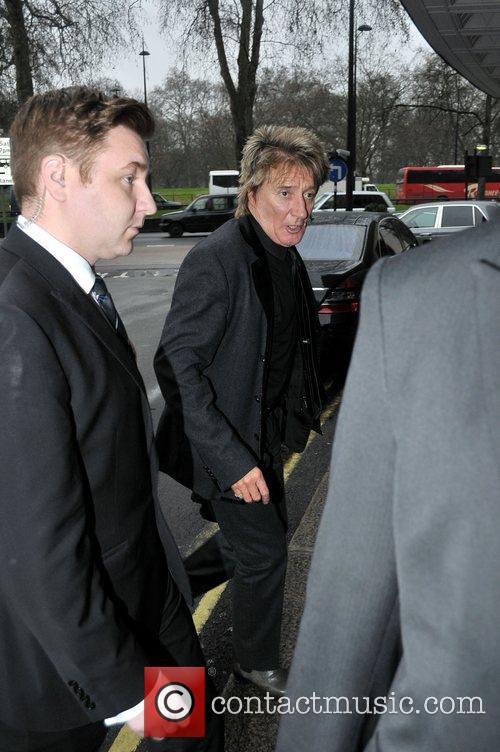 Rod Stewart arriving at the Dorchester Hotel London,...