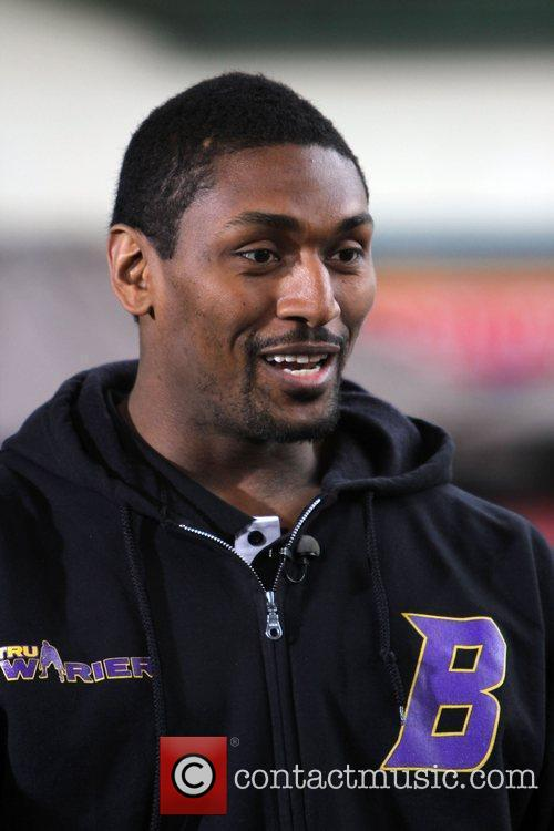 Los Angeles Lakers basketball player, Ron Artest, filming...