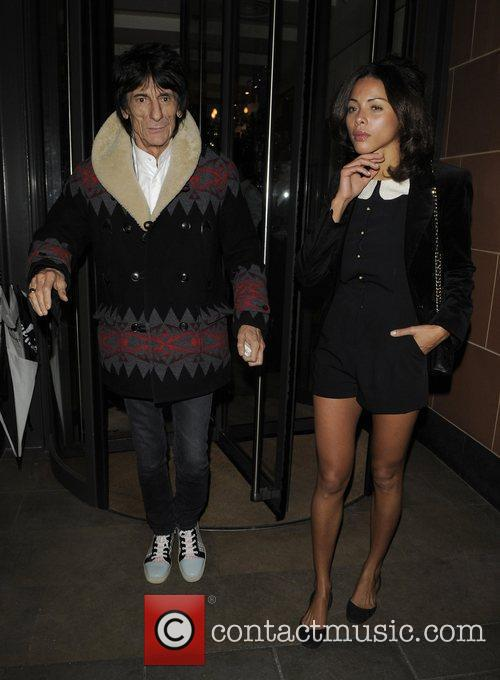 Ronnie Wood leaving C restaurant in Mayfair after...