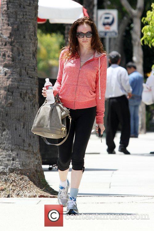 Rose McGowan departs Jerry's Restaurant in Studio City...