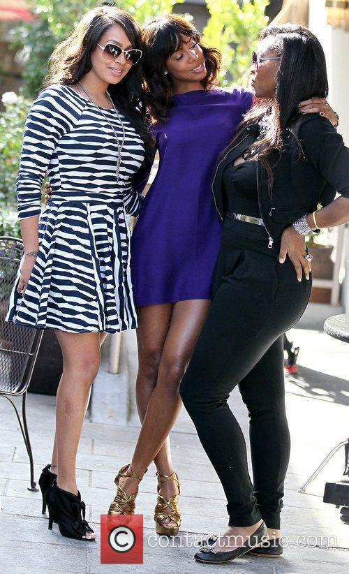 LaLa Vazquez, Kelly Rowland and Serena Williams filming...
