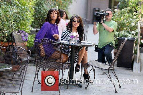 Kelly Rowland and LaLa Vazquez filming a reality...