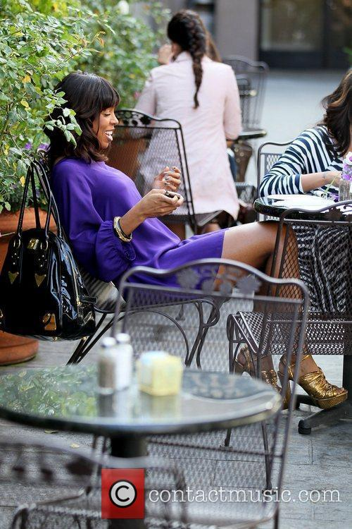 Kelly Rowland filming a reality show segment at...