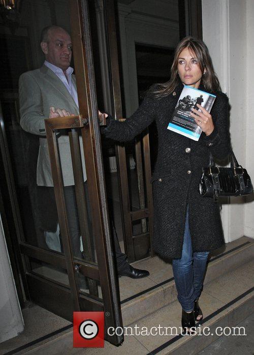 Liz Hurley and her companion leaving the Royal...