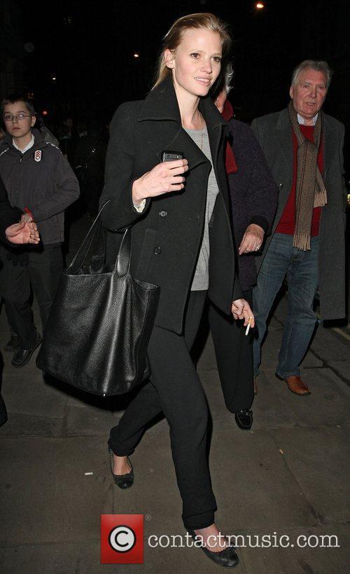 Lara Stone leaving the Royal Opera House after...