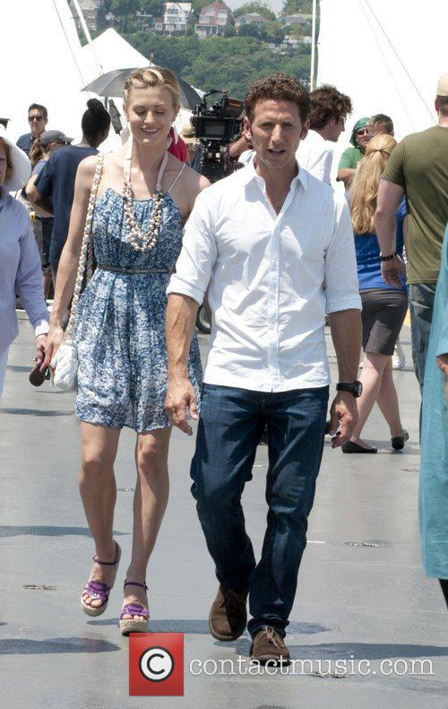 Brooke D'Orsay, Mark Feuerstein filming on location for...