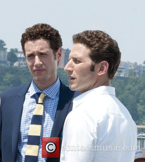 Paulo Costanzo, Mark Feuerstein filming on location for...