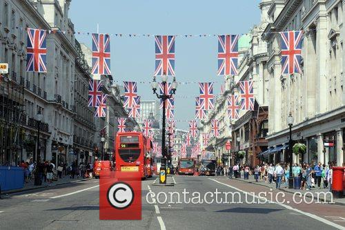 Bunting hang on Regent Street ahead of the...