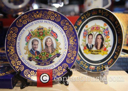 Royal wedding souvenirs on sale in Piccadilly, London,...