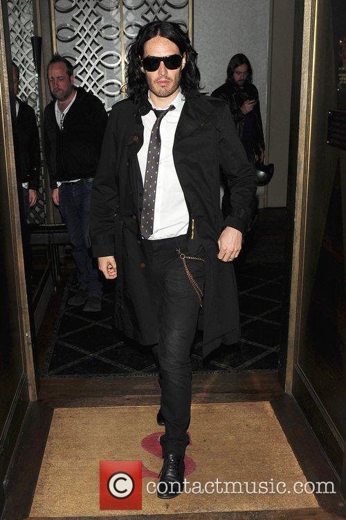 Russell Brand leaving Scott's restaurant