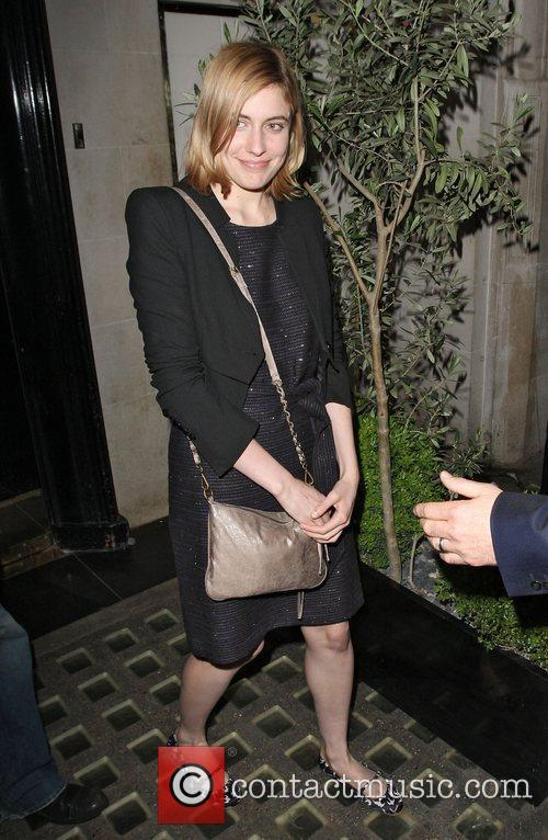Greta Gerwig leaving Scott's restaurant in Mayfair London,...