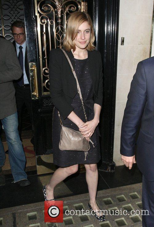 Greta Gerwig leaving Scott's restaurant in Mayfair