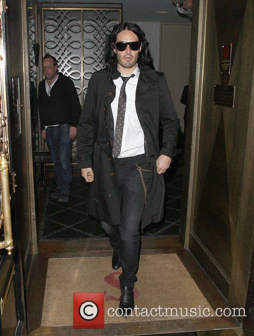 Russell Brand leaving Scott's restaurant in Mayfair