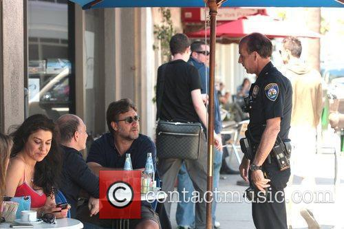Russell Crowe has lunch with a friend and...