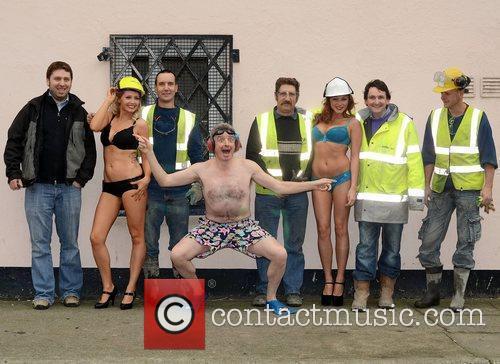 Michael O'Leary with models Lisa Henderson, Gillian Moore...