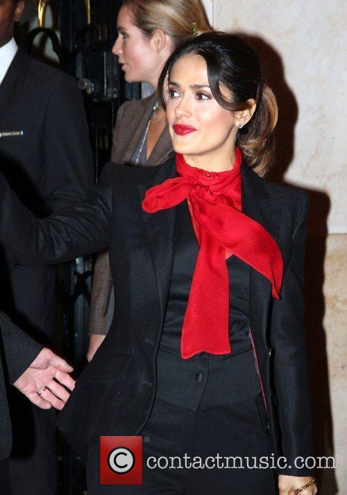 Salma Hayek is seen departing from her hotel...