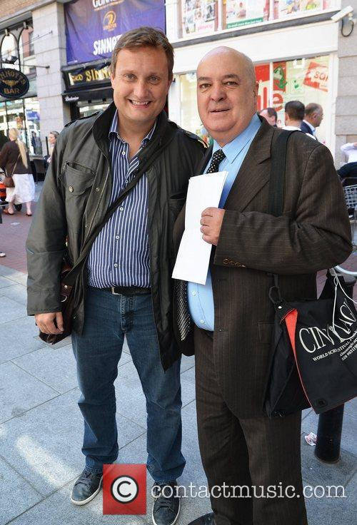 Mario Rosenstock, Gerry Lundberg outside Gaiety Theatre for...