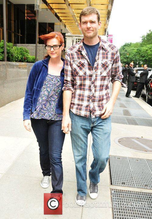 Sara Rue leaves her midtown hotel with husband...