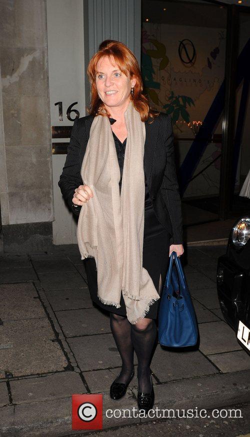 Sarah Ferguson leaving Quaglino's restaurant in London London,...