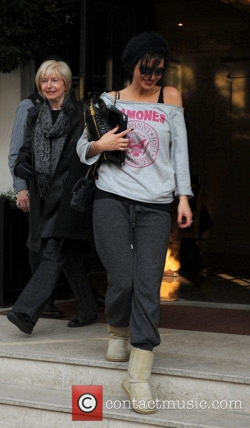 Sarah Harding leaving her hotel in Kensington London,...