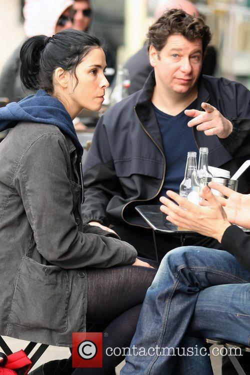 Sarah Silverman and Jeffrey Ross having lunch together...