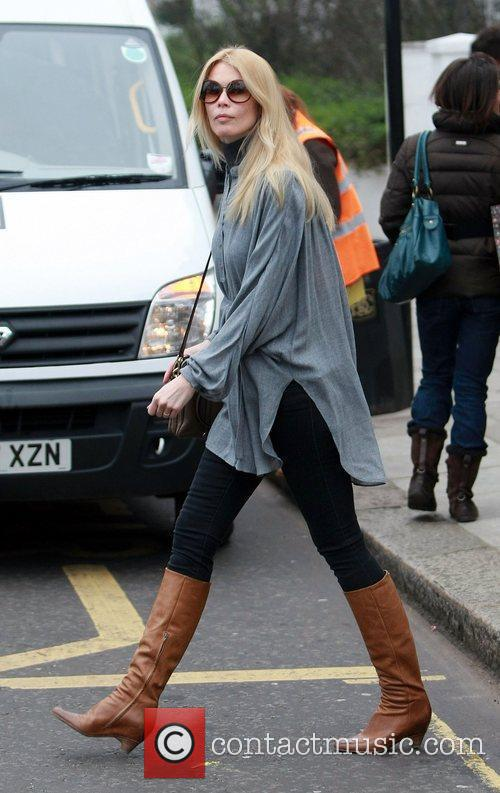 Claudia Schiffer  after dropping her son off...