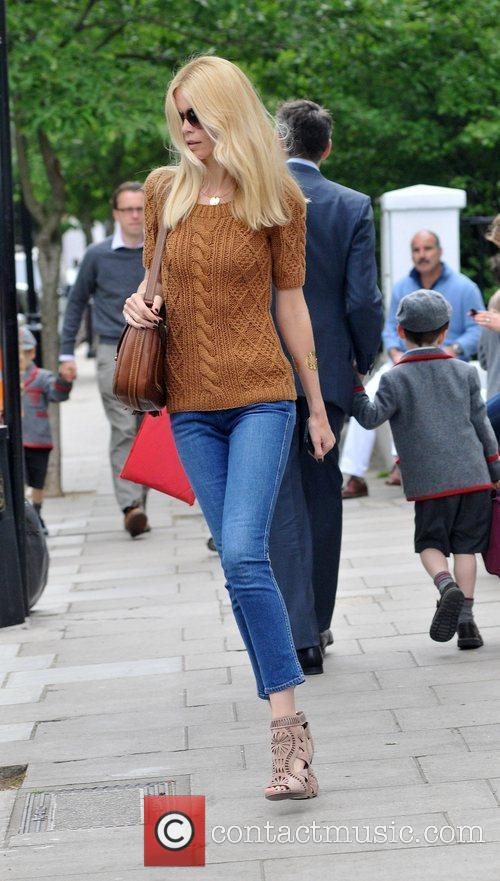 Claudia Schiffer after dropping her children off at...