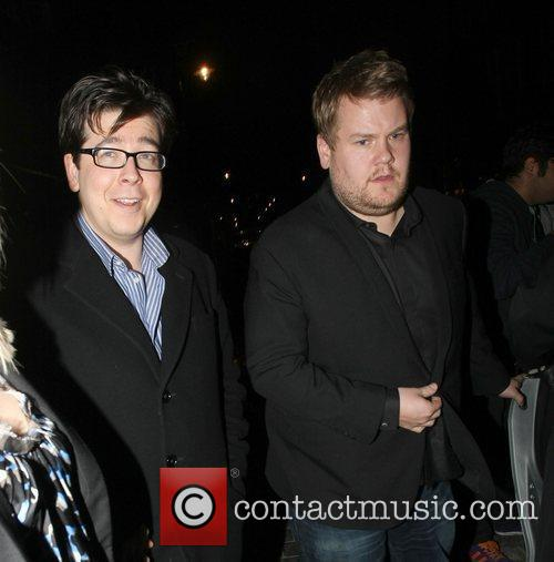 Michael McIntyre and James Corden leave Scotts restaurant.