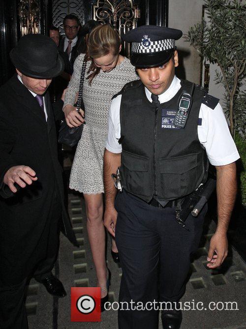 Tara Palmer-Tomkinson leaving Scott's restaurant in Mayfair. Staff...