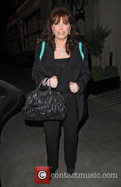 Jackie Collins leaving Scotts restaurant in Mayfair