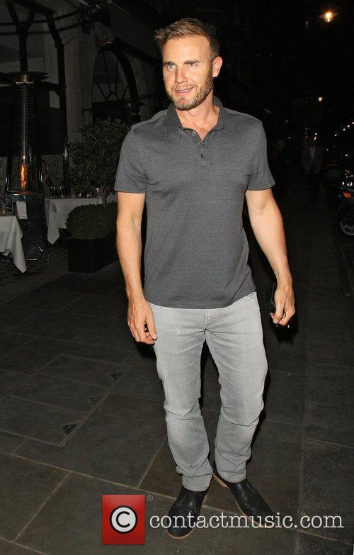 Gary Barlow leaving Scotts restaurant in Mayfair after...