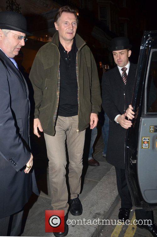 Liam Neeson,  leaving Scotts restaurant. London, England